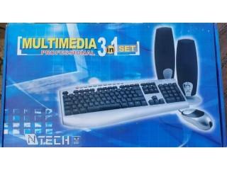 Multimedia 3 in 1 Desktop Keyboard Mouse and Speaker Combo Set